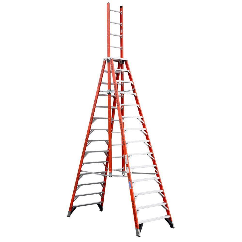 Werner 14 ft. Fiberglass Extension Trestle Step Ladder with 300 lb ...