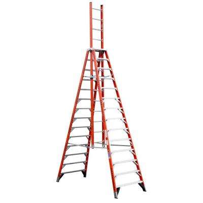 14 ft. Fiberglass Extension Trestle Step Ladder with 300 lb. Load Capacity Type IA Duty Rating