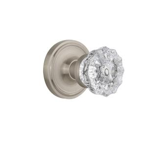 Click here to buy Nostalgic Warehouse Classic Rosette 2-3/8 inch Backset Satin Nickel Privacy Crystal Glass Door Knob by Nostalgic Warehouse.