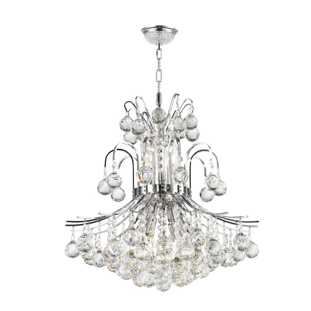 Worldwide Lighting Empire Collection 9-Light Polished Chrome and Clear Crystal Chandelier