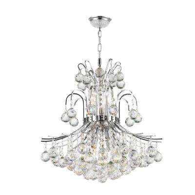 Empire Collection 9-Light Polished Chrome and Clear Crystal Chandelier