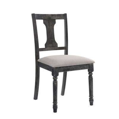 Torres Weathered Gray Fabric Fiddle Back Side Chair (Set of 2)
