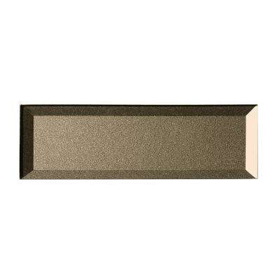 3 in. x 12 in. Secret Dimensions Bronze Glass Beveled 3D Peel and Stick Decorative Wall Tile Backsplash Sample