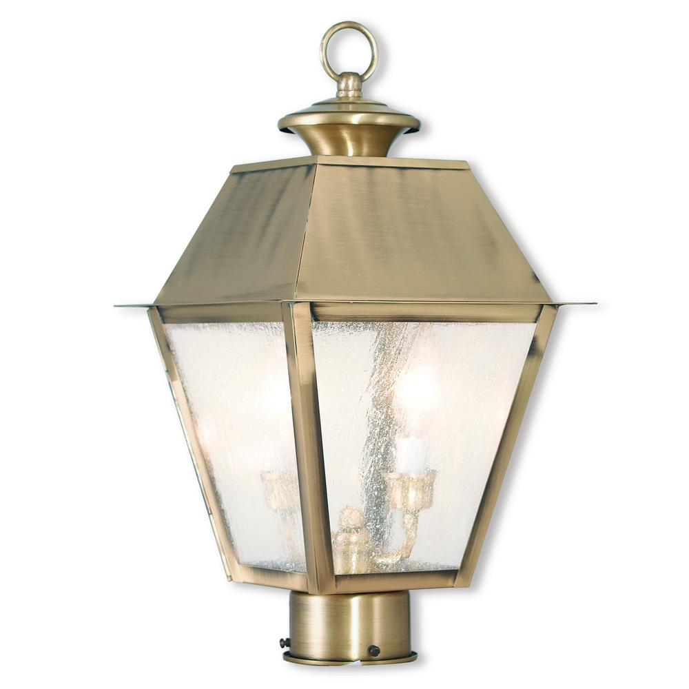Livex Lighting Mansfield 2 Light Outdoor Antique Brass Post Light