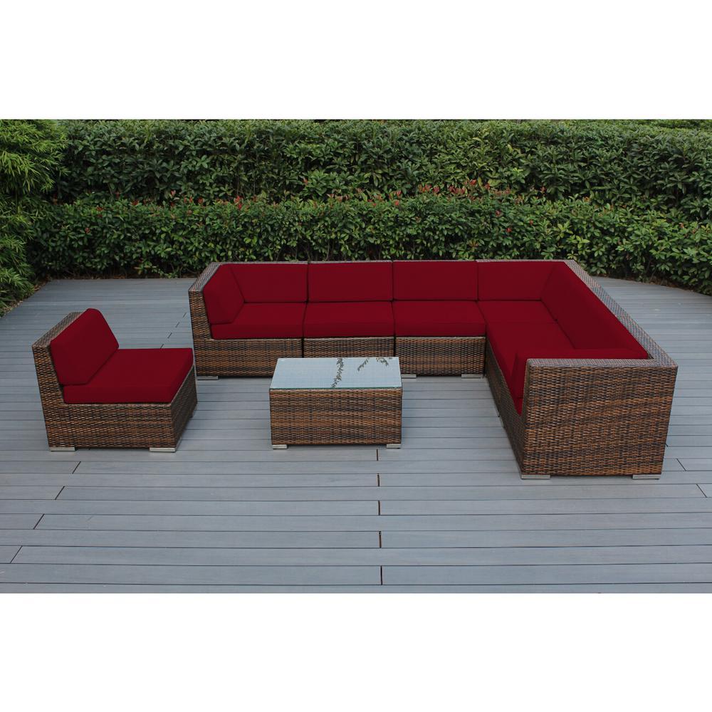 Ohana Mixed Brown 8-Piece Wicker Patio Seating Set with Sunbrella Jockey Red Cushions