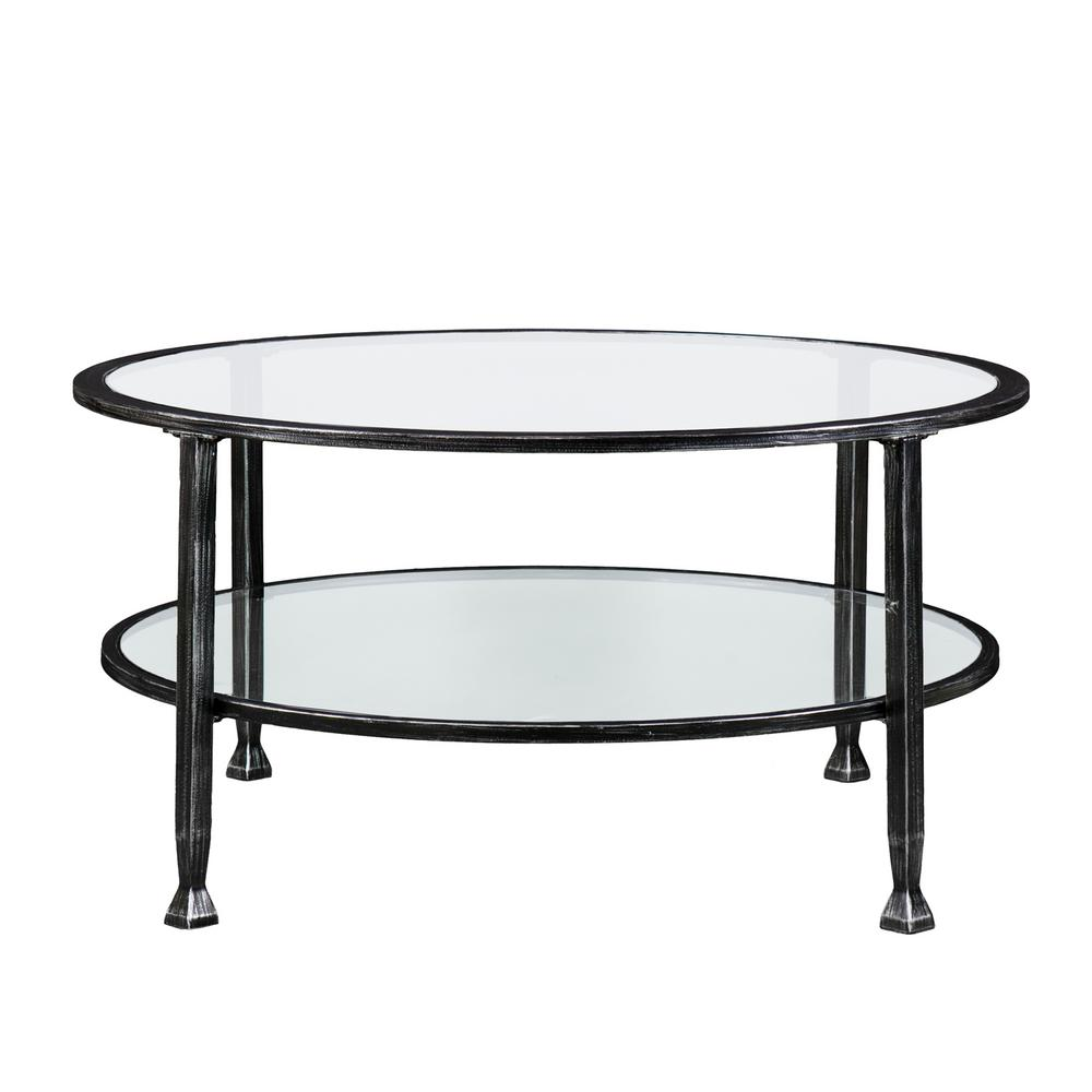 Galena Black Metal And Glass Round Cocktail Table