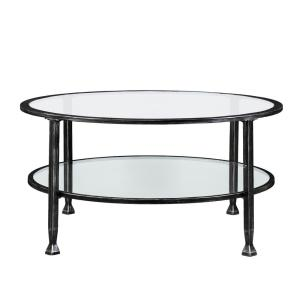 Southern Enterprises Galena Black Metal And Glass Round Cocktail