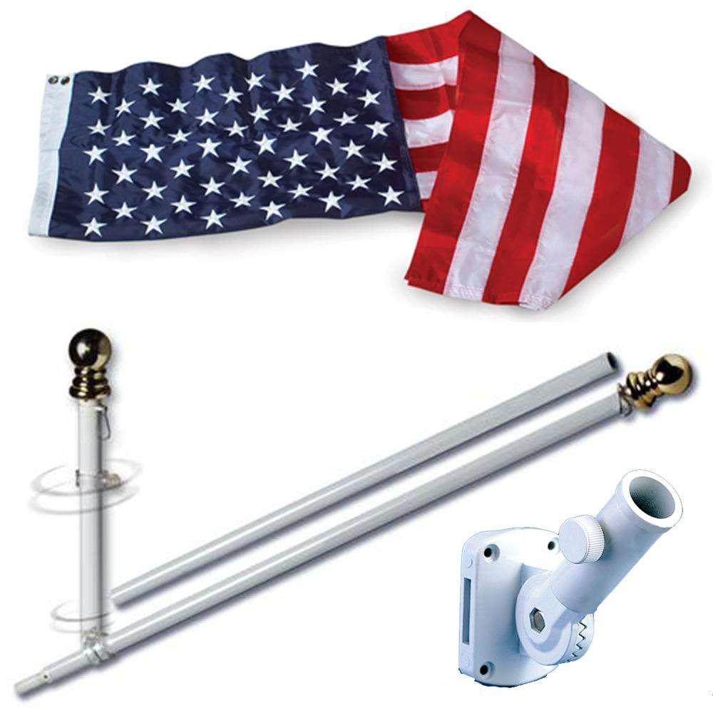 American USA 3 x 5 FT Flag w// 6-Ft Spinning Flag Pole Bracket Tangle Free