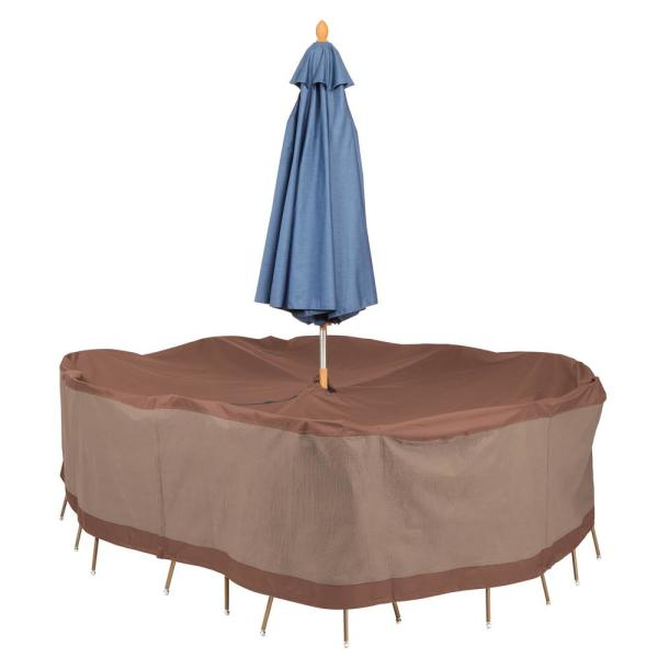 Ultimate 90 in. L x 60 in. W x 32 in. H Rectangular/Oval Table and Chair Set Cover with Umbrella Hole