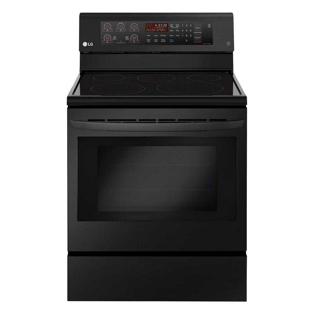 6.3 cu. ft. Electric Range with Convection Oven in Matte Black