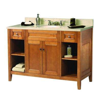 Exhibit 49 in. W x 22 in. D Vanity in Rich Cinnamon with Marble Vanity Top in Crema Marfil with White Basin