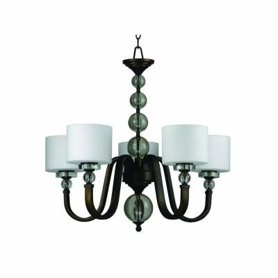 Mitchell Peak 5-Light Oil Rubbed Bronze Hanging Chandelier with Dove White Glass Shade