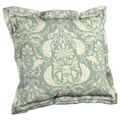 Artisans 21 in. x 23 in. Pietro Damask Double Flange Outdoor Throw Pillow Back