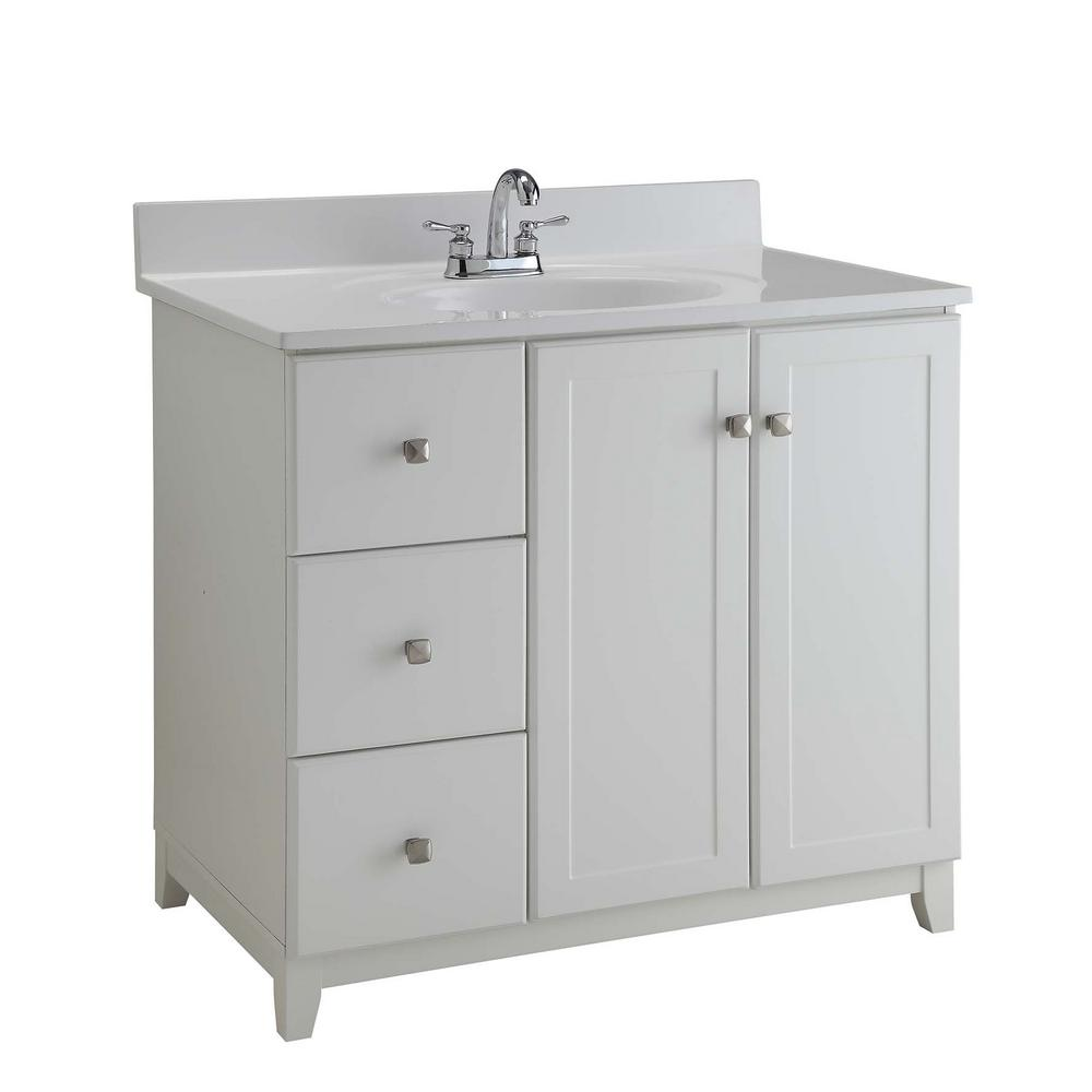 cheaper 4958f af364 Design House Ready to Assemble 36 in. x 21 in. x 33 in. Shorewood Shaker  Style 2-Door 2-Drawer Vanity Cabinet in Semi-Gloss White