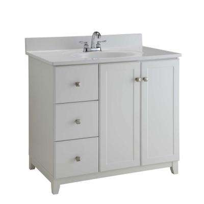 Ready to Assemble 36 in. x 21 in. x 33 in. Shorewood Shaker Style 2-Door 2-Drawer Vanity Cabinet in Semi-Gloss White