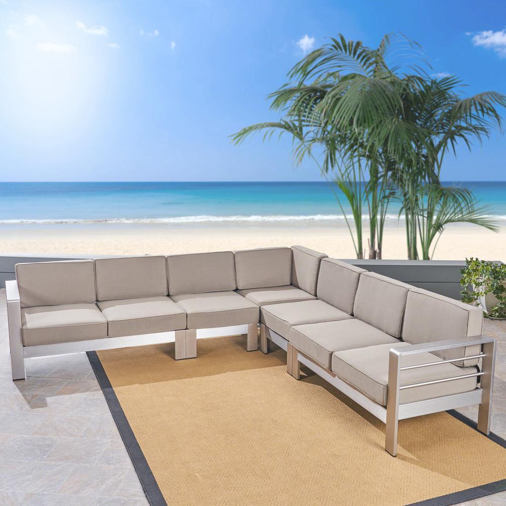 Cape Coral 5-Piece Aluminum Patio Conversation Set with Khaki Cushions
