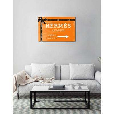 30 in. x 45 in. 'Faubourg Road Sign Orange' by Oliver Gal Printed Framed Canvas Wall Art