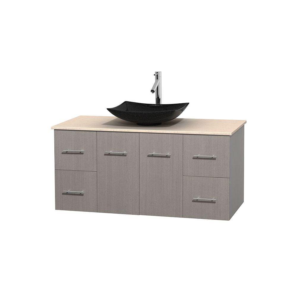Centra 48 in. Vanity in Gray Oak with Marble Vanity Top in Ivory and Black Granite Sink