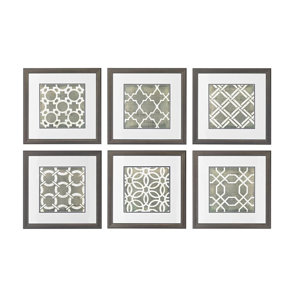 Titan lighting 17 in x 17 in symmetry blueprint hand painted symmetry blueprint hand painted framed malvernweather Image collections