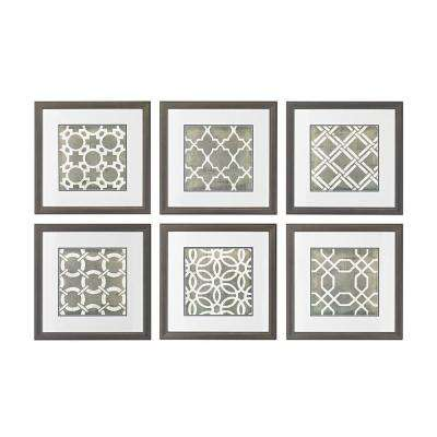 """17 in. x 17 in. """"Symmetry Blueprint"""" Hand Painted Framed Paper Under Glass Wall Art (Set of 6)"""
