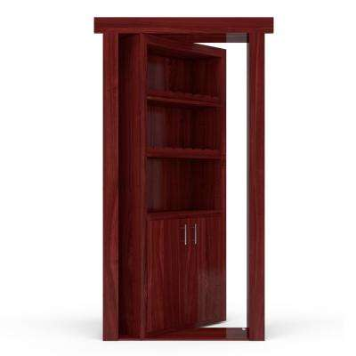 32 in. x 80 in. Flush Mount Assembled Cherry Cherry Stained Right-Hand Outswing Wine Rack Door