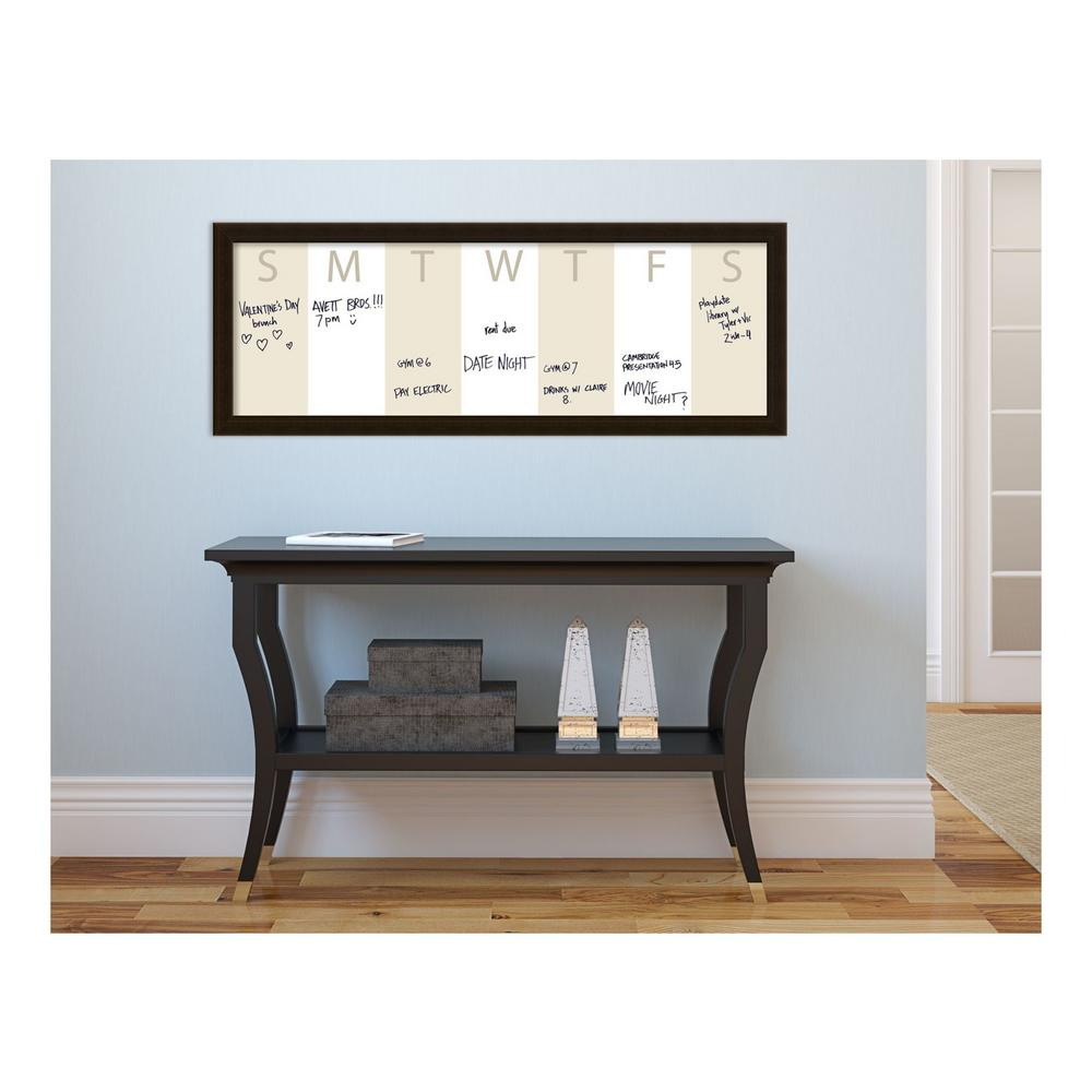 Amanti Art Beige Week Horizontal Calendar 38 in. W x 14 in. H Framed ...