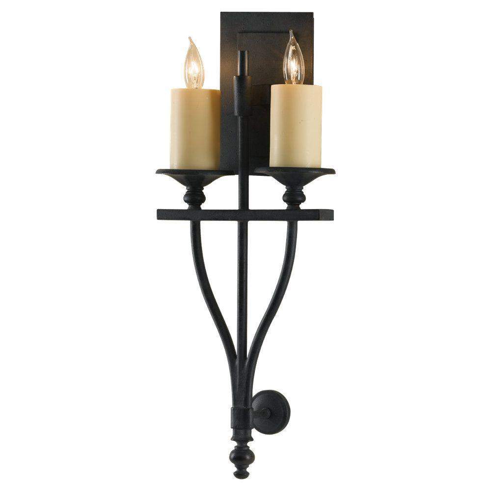 Murray Feiss Wall Sconces: Feiss King's Table 2-Light Antique Forged Iron Sconce