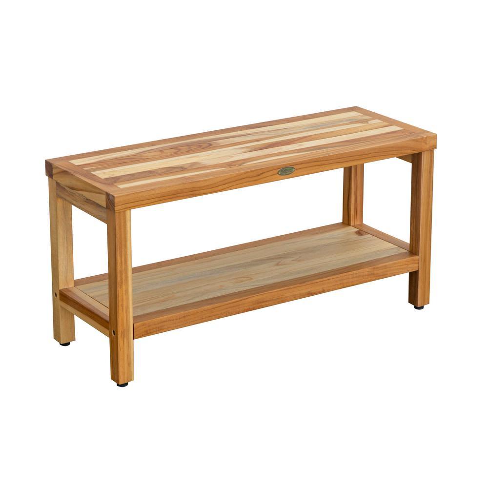 EarthyTeak Classic 35 in. W Teak Shower Bench with Shelf