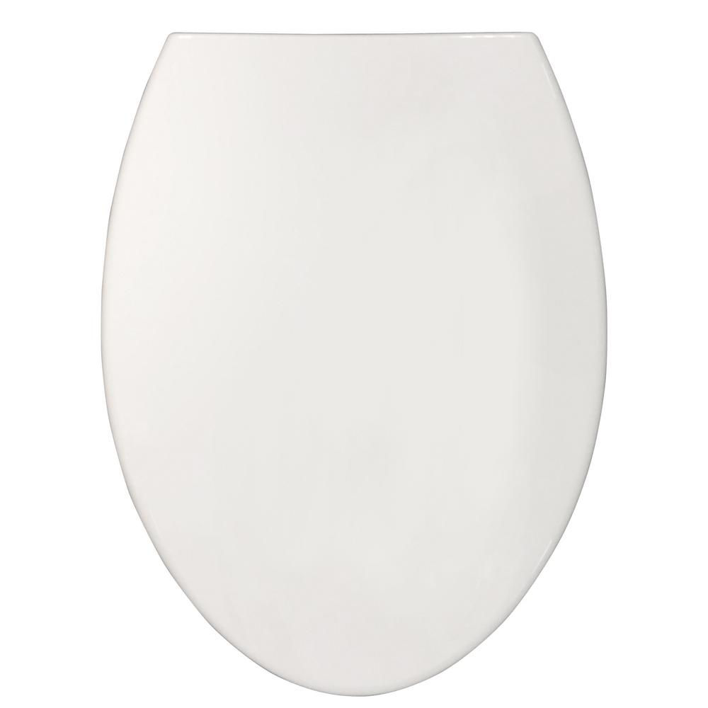 Sharper Image Nightlight Elongated Closed Front Toilet Seat in White