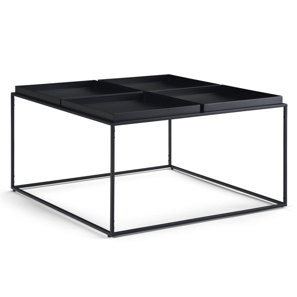 Garner 34 in. Wide Square Modern Industrial Tray Top Coffee Table