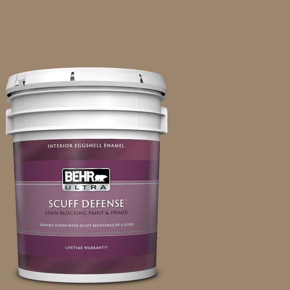 Behr Ultra 5 Gal Mq2 48 Sturdy Brown Extra Durable Eggshell Enamel Interior Paint And Primer In One 275305 The Home Depot