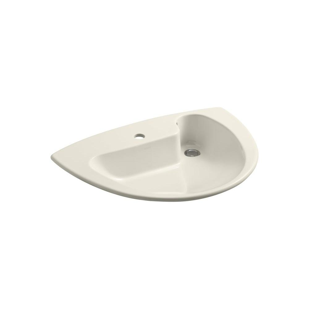 KOHLER Invitation Drop-in Bathroom Sink in Almond-DISCONTINUED