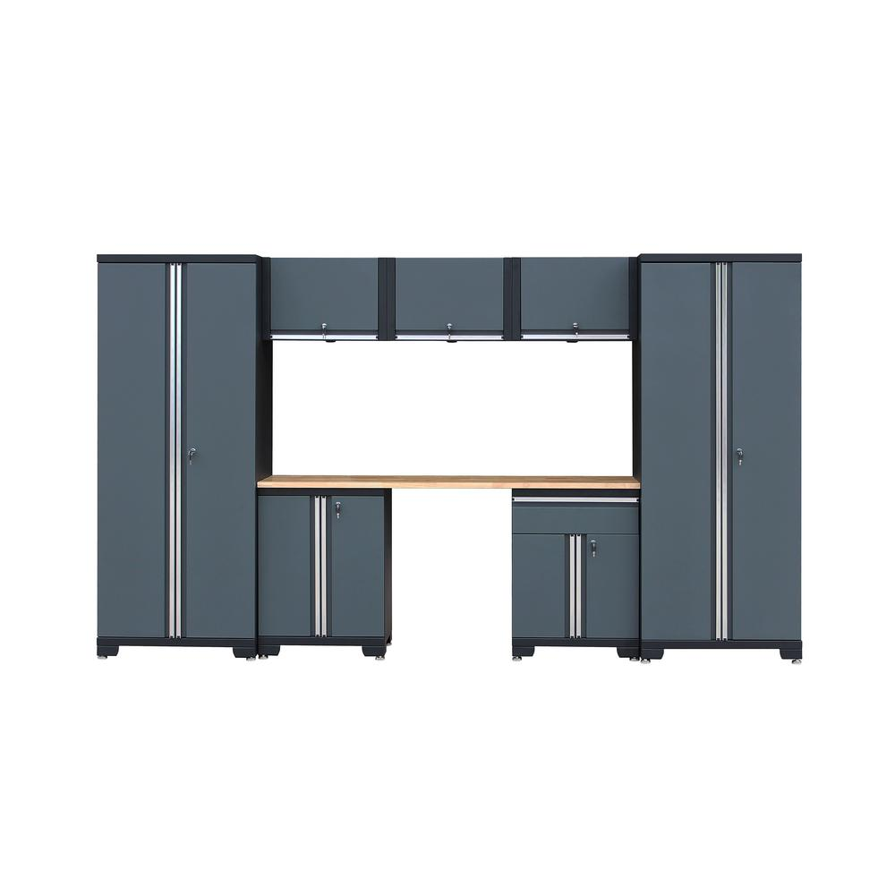 Classic 1.0 76.3 in. H x 129.8 in. W x 18.6 in. D 24-Gauge Steel Garage Storage System in Gray (8-Piece)