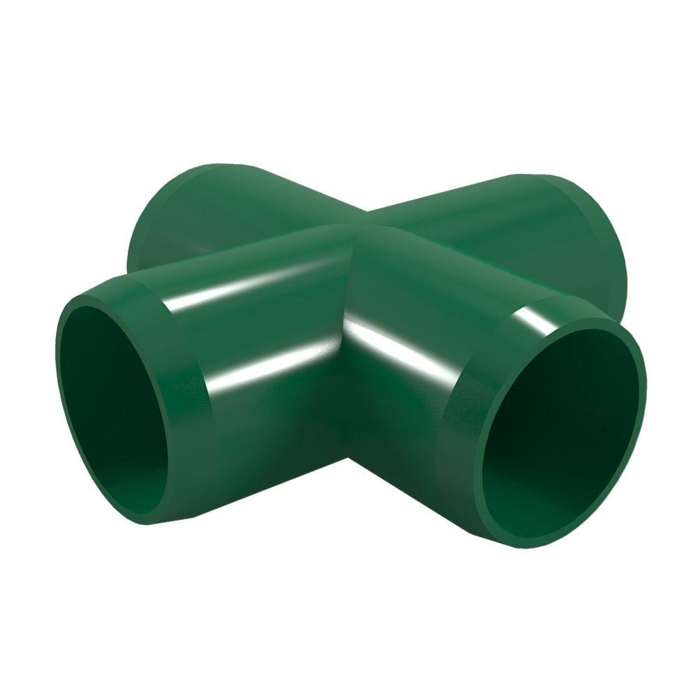 1 in. Furniture Grade PVC Cross in Green (4-Pack)