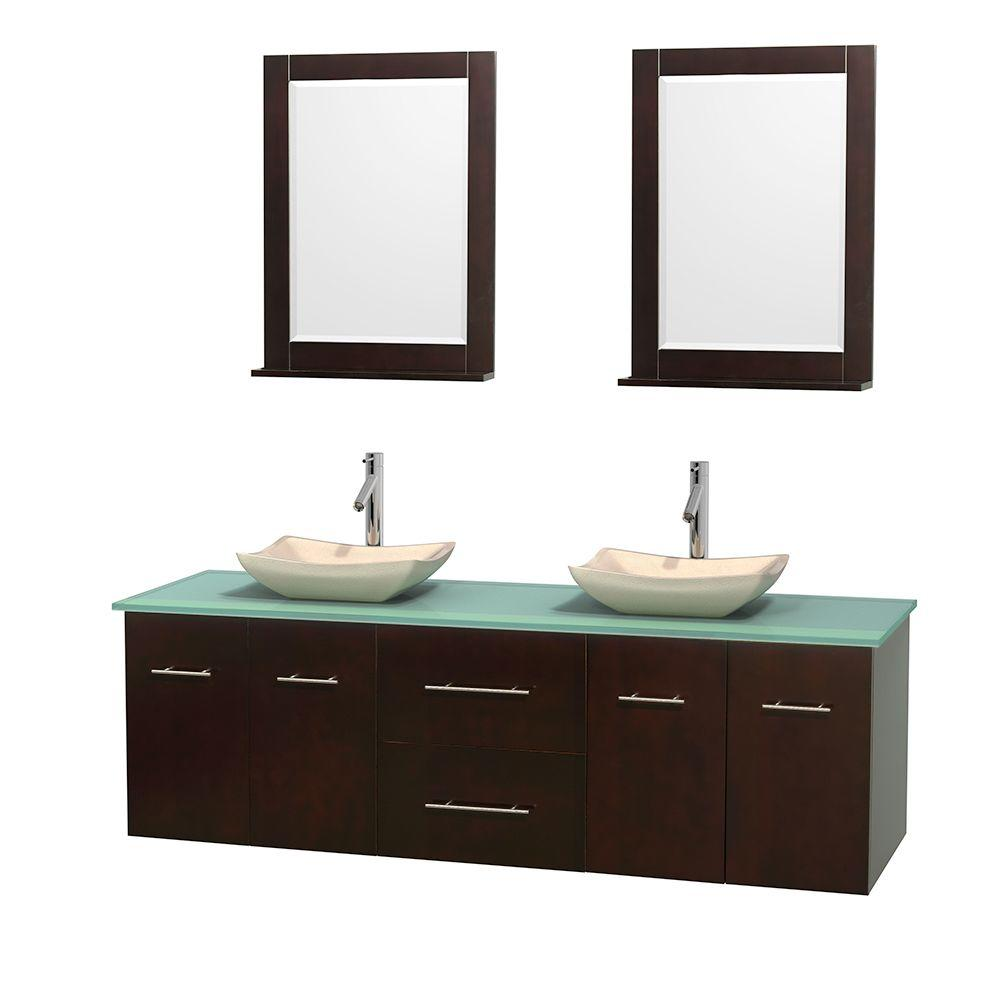 Centra 72 in. Double Vanity in Espresso with Glass Vanity Top