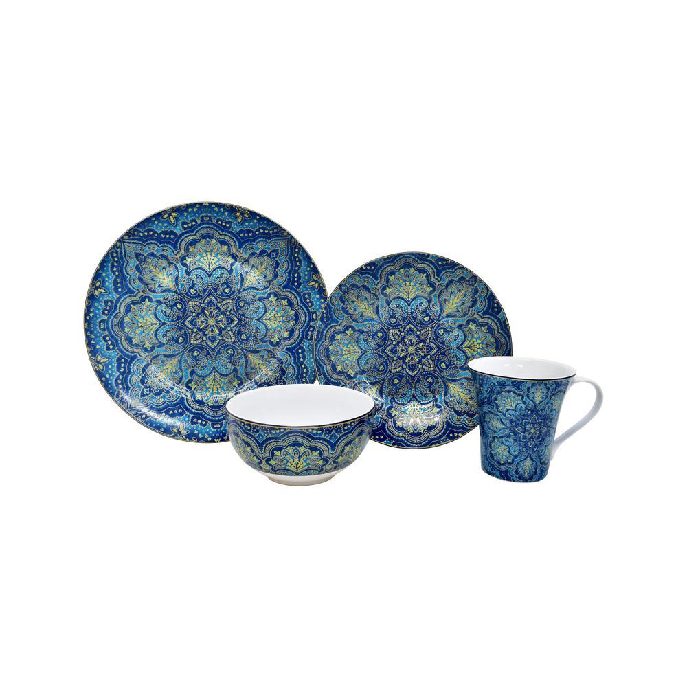 Angustina Opulent Blue 16-Piece Dinnerware Set
