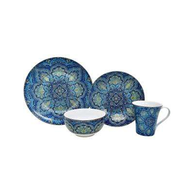 Agustina Opulent 16-Piece Blue Dinnerware Set