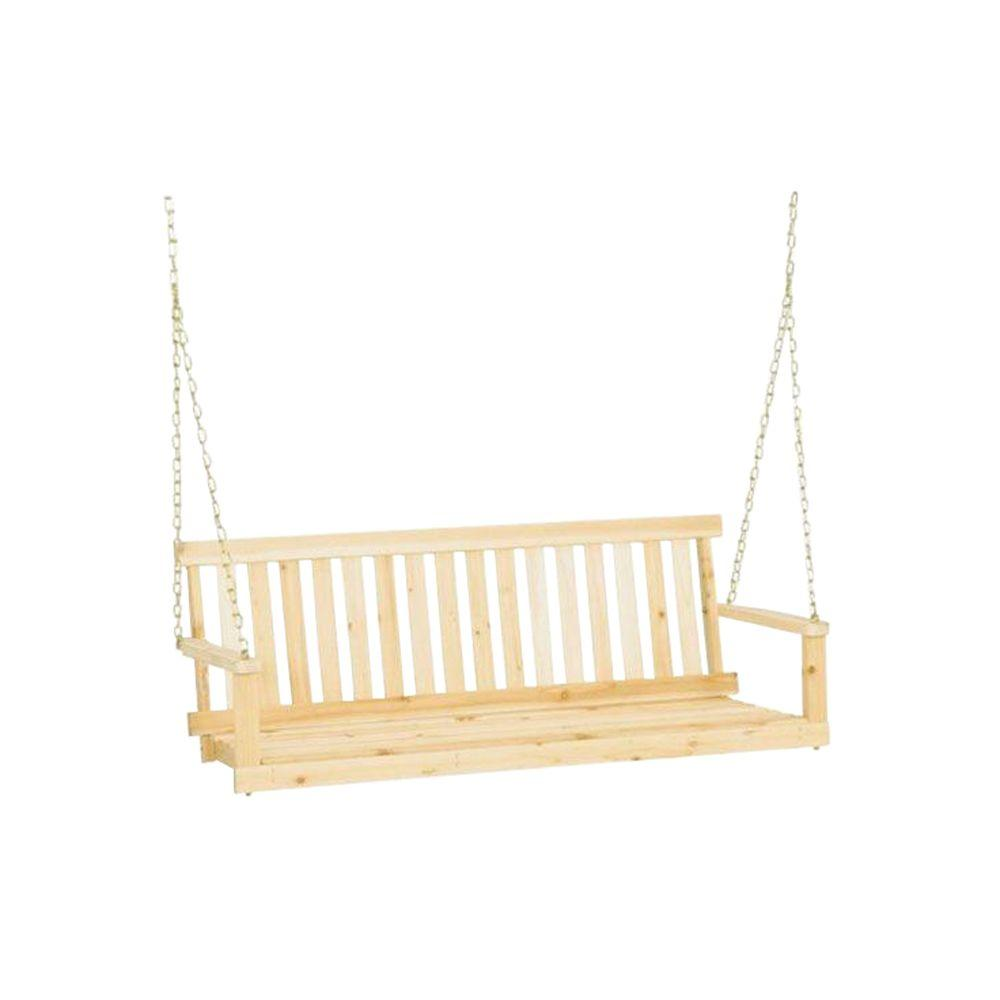 Traditional Wood Porch Patio Swing - Jack Post Jennings 4 Ft. Traditional Wood Porch Patio Swing-H-24
