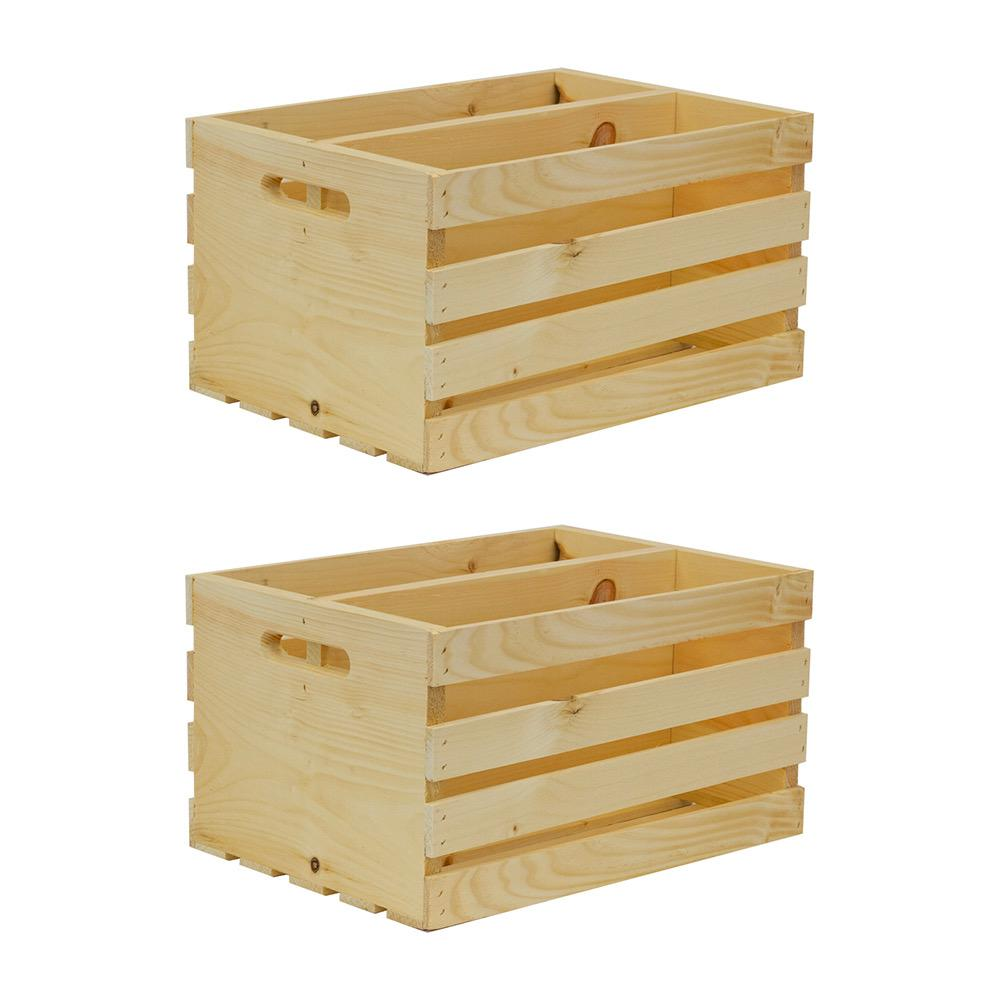 Crates & Pallet 18 in. x 12.5 in. x 9.5 in. Divided Wood Crate (2-Pack)
