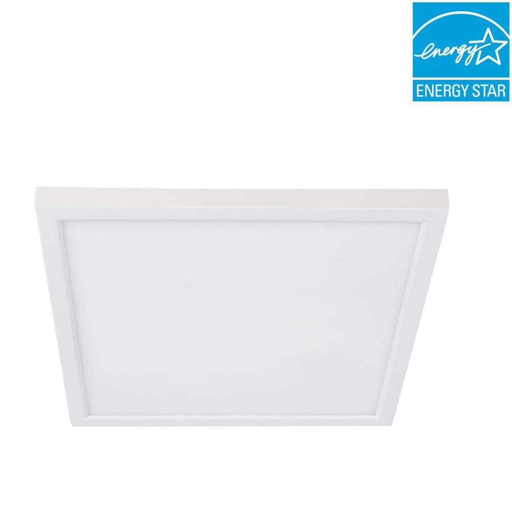 5 or 6 in. J-Box 12-Watt Dim 90+ CRI White Integrated LED Square Color Selectable Flat Panel Recessed Retrofit Trim