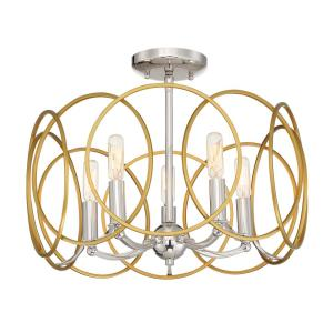 Chassell 18.25 in. 5-Light Honey Gold with Polished Nickel Semi-Flush Mount