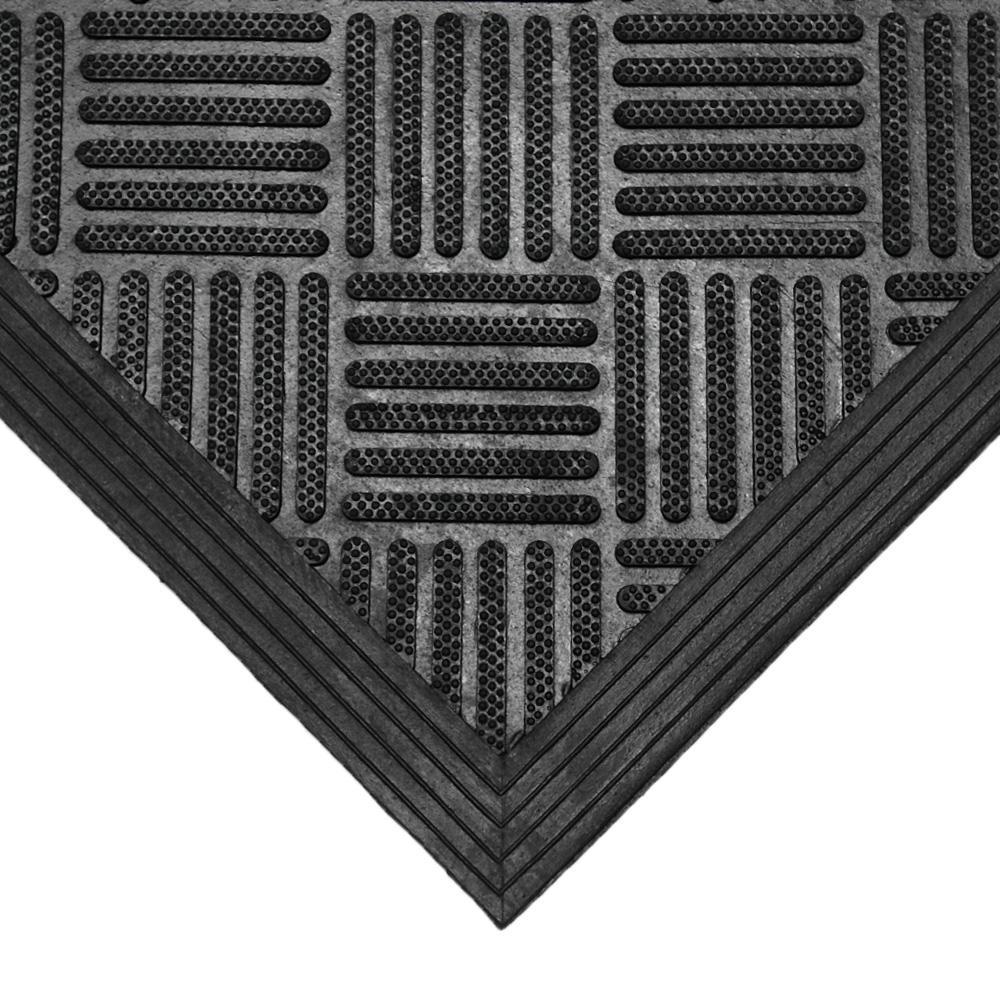 Dura-Scraper Checkered 60 in. x 36 in. Black Rubber Door Mat