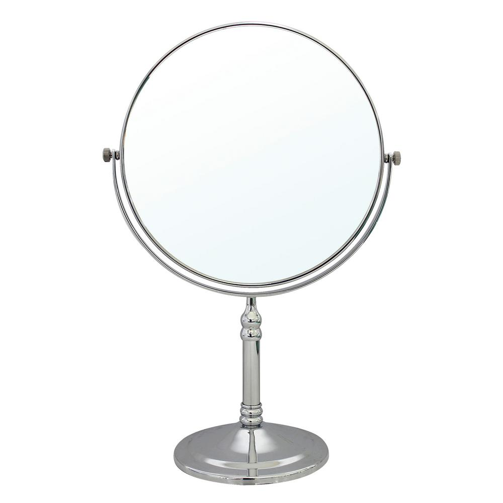 MODONA 8 in. 2-Sided 1X and 5X Brass 14 in. Counter Top Magnifying Makeup Mirror in Polished Chrome