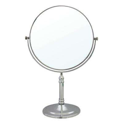 8 in. 2-Sided 1X and 5X Brass 14 in. Counter Top Magnifying Makeup Mirror in Polished Chrome