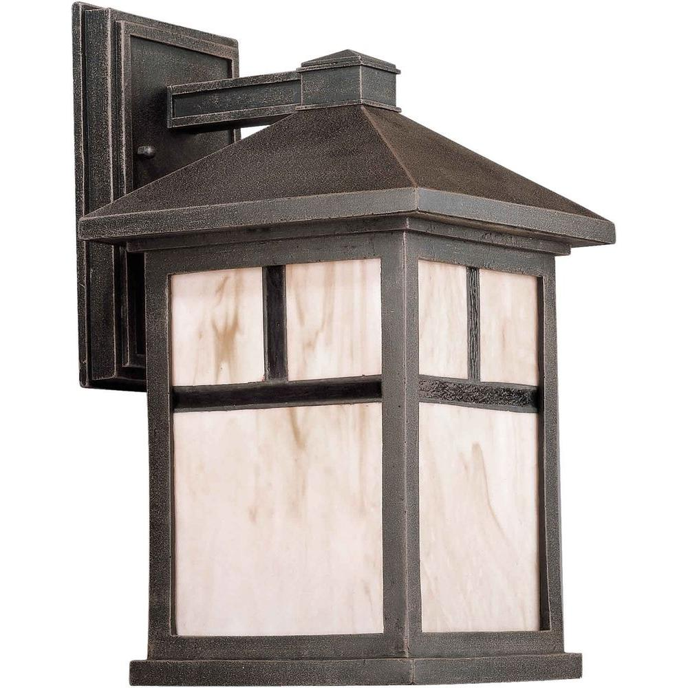 Talista 1-Light Outdoor Painted Rust Lantern with Honey Glass Panels