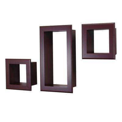 nexxt Framed Cubbi 10 in. x 18 in. MDF Wall Shelf in Mahogany (3-Piece)
