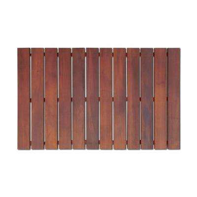 Bathroom Mat 2 ft. x 3 ft. Roll-Out Wood Deck Tile in Brown Color