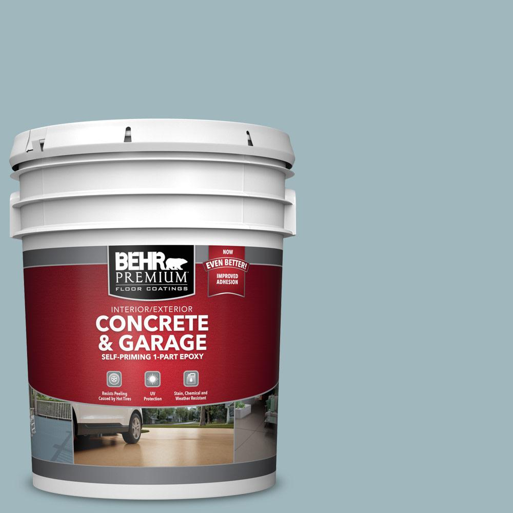 BEHR PREMIUM 5 gal. #PFC-51 Nautical Blue Self-Priming 1-Part Epoxy Satin Interior/Exterior Concrete and Garage Floor Paint