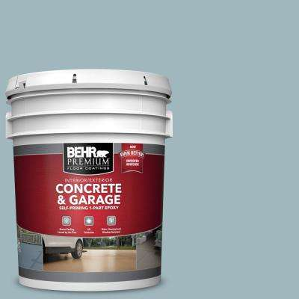 5 gal. #PFC-51 Nautical Blue Self-Priming 1-Part Epoxy Satin Interior/Exterior Concrete and Garage Floor Paint