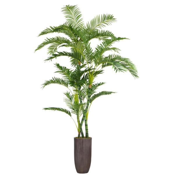 86.25 in. Tall Bamboo Tree Faux Decorative in Natural Poles with Resin Planter